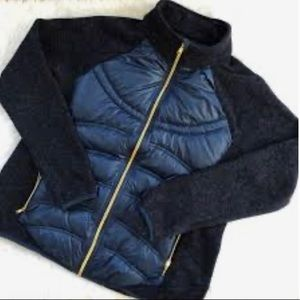 New London Fog down knit puffer jacket sporty navy